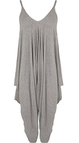 Neck Ladies Romper Wear Jumpsuit V Sleeveless Lagenlook Fancy Party Light Dress Womens Hareems Plain 21FASHION Grey Sq7pw8xXW