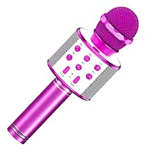 Toys for 4-12 Year Old Girls, Wireless Portable Handheld Bluetooth Karaoke Microphone for Kids Birthday Present Gifts for 4-12 Year Old Girls Stocking Fillers Stocking Stuffers GT01 (Purple)