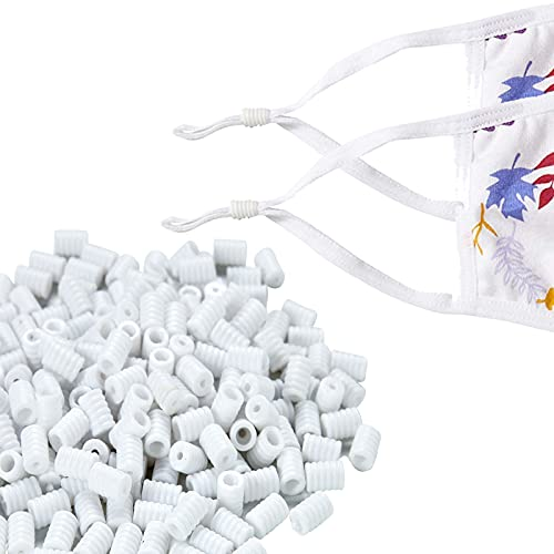 J.CARP 100 PCS Cord Locks for Mask, Soft Elastic Adjuster Silicone Cord Stopper No Slip Earloop Toggles for Drawstring Buckle Clasp Spring (White)