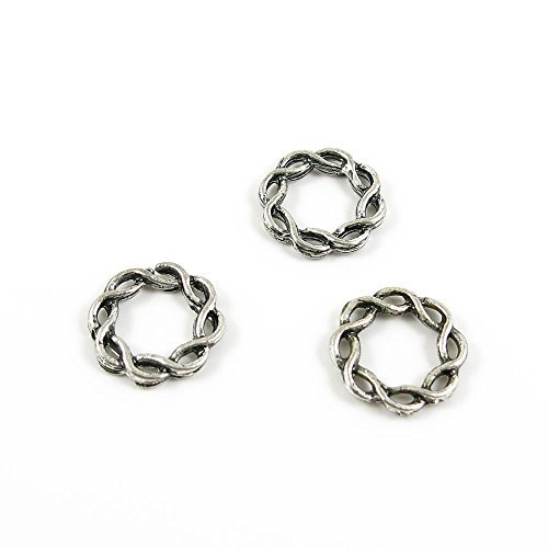 (30 Pieces Wholesale Supplies Ancient Silver Fashion Jewelry Making Charms Findings W-13465 Twisted Circle Pendant Craft DIY Vintage Alloys Necklace Bulk Supply Accessoires)