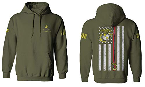 VICES AND VIRTUESS US Marine Corps Support Thin line American Flag USMC Hoodie (Olive Medium)