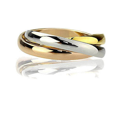 Stainless Steel 3 Tone Trinity Interlocking Wedding Band For Men & Women 3MM Domed Ring Size (Three Tone Trinity Ring)