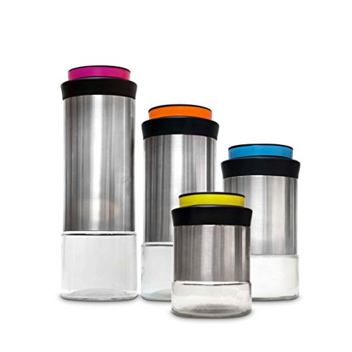 Ragalta Stainless Steel and Glass Canister Set with Inter...