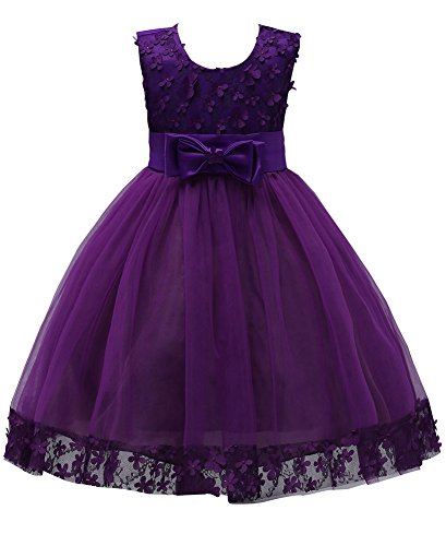 Girl Dresses Size 3 4 Sleeveless for Wedding Pageant Sundress for Girls Knee Length Lace Tutu Tulle Ball Gown Kids Flower Girl Dress Formal Party Prom Halloween Gowns ((Dark Purple, -