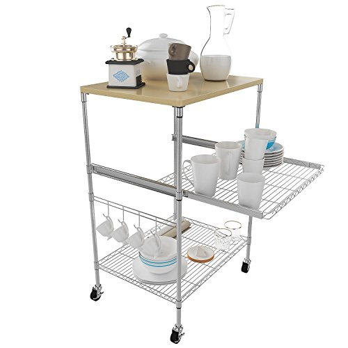 Garain 3-Tire Kitchen Wire Shelving Units on Wheels Stainless Steel Microwave Stand Rolling Cart Chrome Finish Adjustable Height with 4 Hooks (US Stock) (Silver)