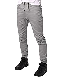 JD Apparel Mens Slim Fit Drawstring Harem Joggers Fashion Pants S Light Grey