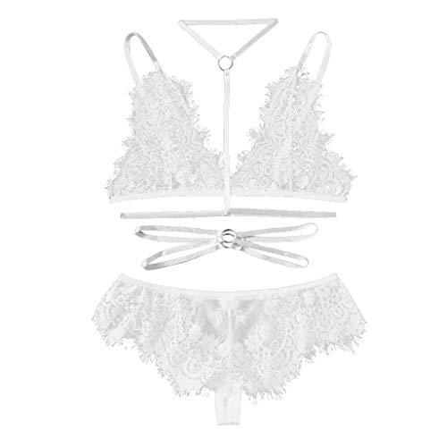 ALLYOUNG Women's Babydoll Eyelash Lace Detail Lingerie Set with Choker Bandage Bra Thong Bodysuit Nightwear New 2019 (White, L)