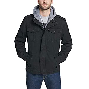 Levi's Men's Washed Cotton Hooded Military Jacket (Regular and Big and Tall Sizes)