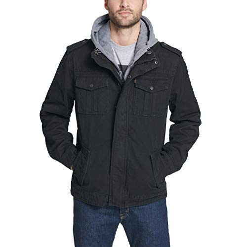 Levi's Men's Washed Cotton Military Jacket with Removable Hood (Standard and Big & Tall) 1