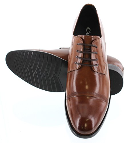 CALTO Y1002-2.8 inches Taller - height Increasing Elevator Shoes - Antique Brown Lace-up Dress Shoes 757Ofb