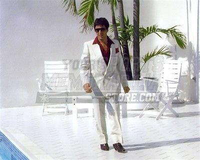 (Al Pacino Scarface movie Tony Montana white suit 8x10 11x14 16x20 photo 314 - Size 8x10)