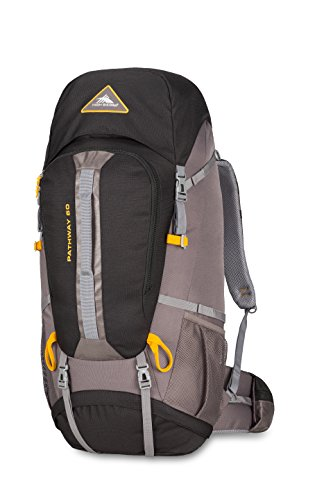 High Sierra Pathway 60L Top Load Internal Frame Backpack Pack ; High-Performance Pack for Backpacking, Hiking, Camping, with Rain Fly, Black/Slate/Gold
