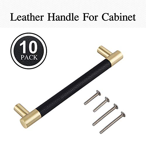 Githtra Bar Cabinet Handle Knob Pull Brushed Satin Gold/Brass Finish with Upholstered Black Leather 7.3