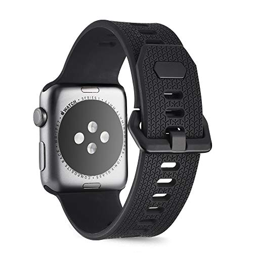 - Goton Sport Watch Band Apple Watch Series 4 3 2 1, Soft Silicone Watch Straps Compatible Apple Watch Sport Bands Men Women Double Buckles (Black, 38mm / 40mm)