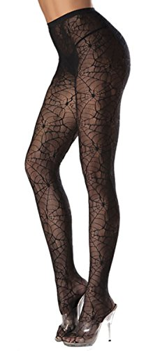 Costume Adventure Women's Witch Spider Web Pantyhose Stocking (Tight Black Dress Halloween Costumes)