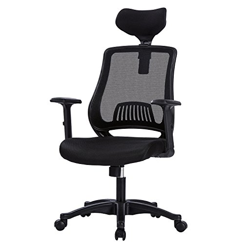 MBOO Ergonomic High Back Mesh Office Chair – Executive Computer Desk Task Chair with Adjustable Headrest and Armrests, Built-in Back Lumbar Support, Black
