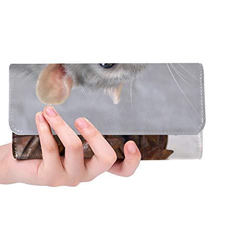 Unique Custom Rat Decorative In A Basket Animal Home Closeup 624870 Women Trifold Wallet Long Purse Credit Card Holder Case Handbag