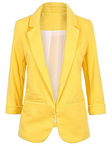 Faddish Women's Cotton Basic Boyfriend Ponte Rolled Blazer Jacket Suits Yellow XXL