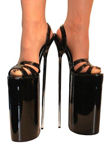 Pour Plateau Heels Extrem Sandalette Femme Escarpins 30cm Noir High Erogance Lack qxw6U8EA