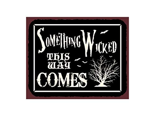Fhdang Decor Something Wicked This Way Comes Vintage Metal Art Retro Tin Halloween Sign,Metal Sign, 8