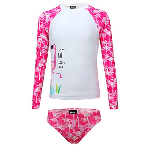 PHIBEE Girls' Rash Guard Set Long Sleeve UPF 50+ Sun Protection Two-Piece Swimwear Rose1 -