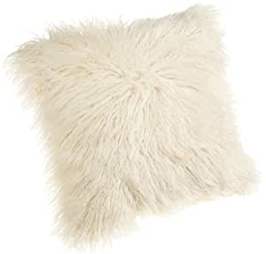 Brentwood 18 Inch Mongolian Faux Fur Pillow, Natural