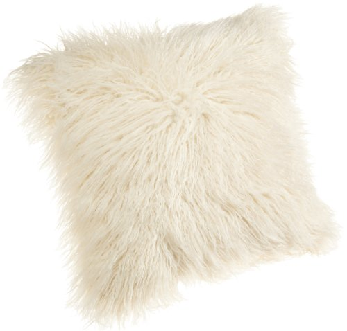Brentwood 18-Inch Mongolian Faux Fur Pillow,  White (Shag White Pillow)