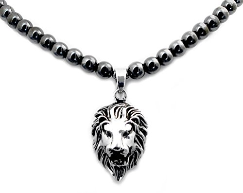 Accents Kingdom Men's Magnetic Hematite Round Bead Necklace with Stainless Steel Lion Head Pendant 24