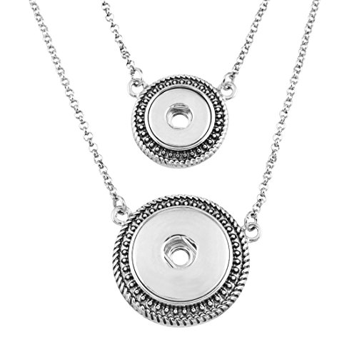 Souarts Femmes Bijoux Collier Double Couche avec Pendentif pour Snap Bouton Pression de 4.5mm 5.5mm 44cm 1Pc