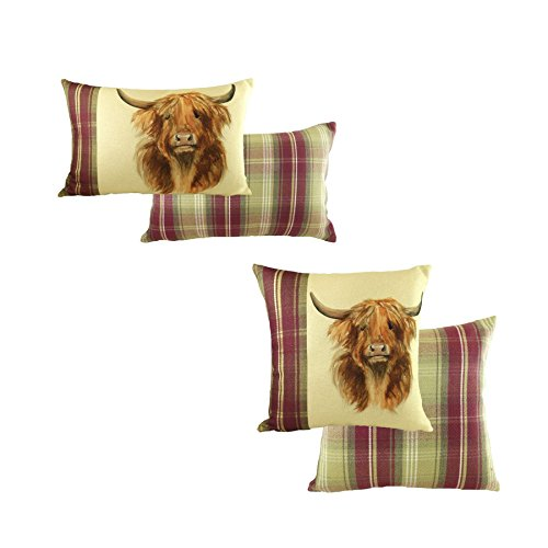 2 X EVANS LICHFIELD HEATHER HIGHLAND COW HAND PAINTED ANIMALS THROW PILLOW SCATTER CUSHION COVERS 16
