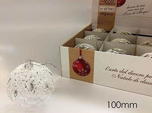 4 pz Sfera natalizia PIETRE in vetro 80mm decori palle per albero di natale eleganti GiardiCasa