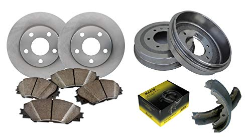 Front OE Spec Quiet Technology Rotors and Premium Semi Metallic Pads featuring Tripple Layer Wolverine Shims & Rear OE Spec Quiet Technology Drums and Perfect Fit Premium Brake Shoes BK40389M | Fits: ()