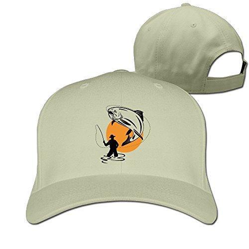 FASN Fly Fishing Cartoon Peaked Baseball Cap With Natural (Fisher Orange Baseball)