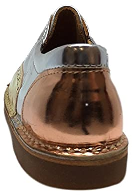 Papanatas by Eli Kids Silver and Gold Metallic Sparkle Sequin Slip On Oxford Loafer Shoes