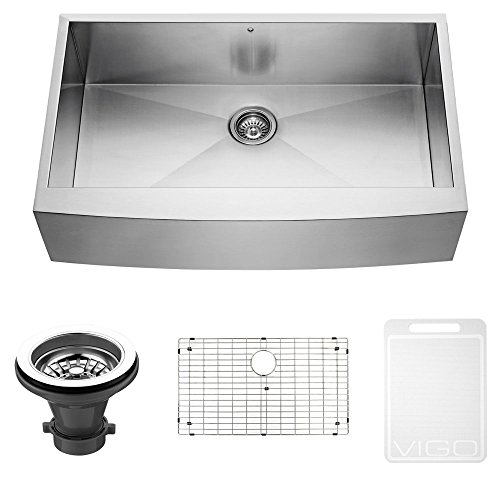 Series Soap Traditional Dispenser - VIGO 36 inch Farmhouse Apron Single Bowl 16 Gauge Stainless Steel Kitchen Sink with Grid and Strainer