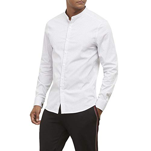 Kenneth Cole New York Men's Long Sleeve Button Down Shirt, White, Large - Kenneth Cole Long Sleeve Dress Shirt