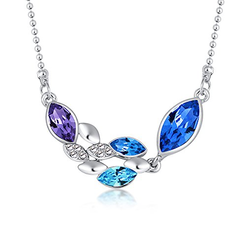 Fancy Foliage 20 Piece (The Starry Night Silver the Jungle Foliage Leaf Shape Youth Dream Theme Crystal Pendant Beauty Necklace Blue)