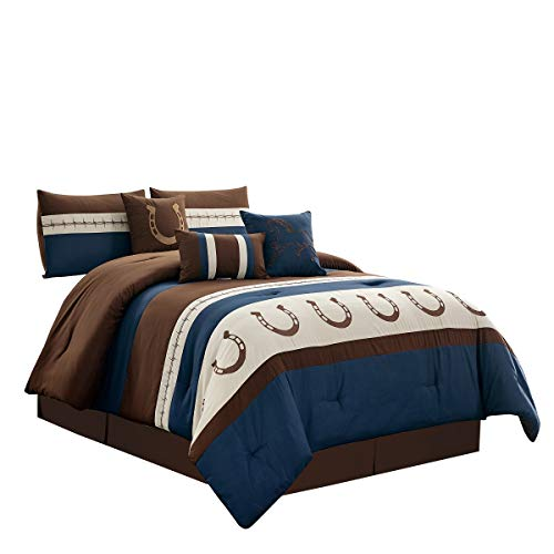 WPM WORLD PRODUCTS MART 7 Piece Rustic Comforter Set. Brown/Beige/Teal/Navy Blue Horseshoe, Horse, Barb Wired Embroidered Bed in a Bag Western Cowboy Bedding Set- JENA (Navy Blue, Queen)