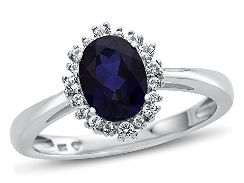 Ring Accent Sapphire (Finejewelers 10k White Gold 8x6mm Oval Created Sapphire with White Topaz accent stones Halo Ring Size 8)