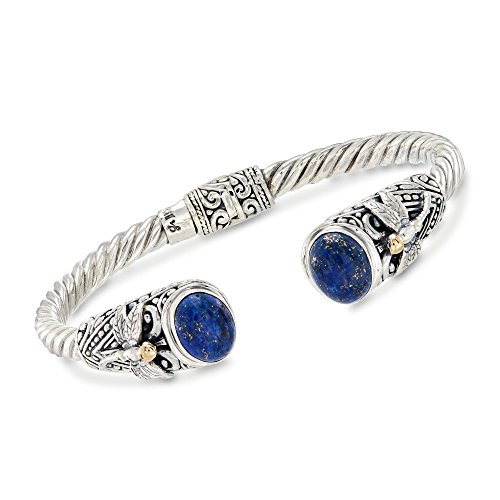 Ross-Simons Lapis and Two-Tone Sterling Silver Dragonfly Cuff Bracelet