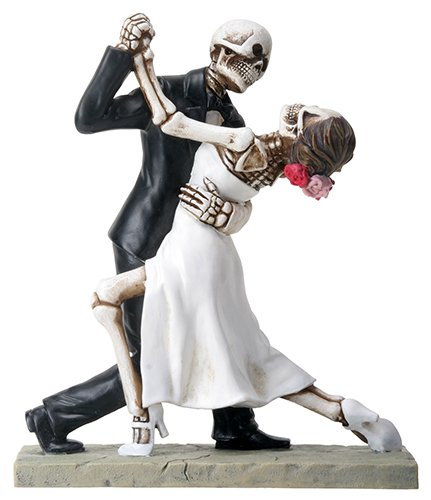 Skeleton Face Wedding Couple in Dancing Position Statue Figurine