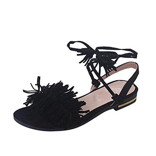Culater® Femmes Mode Gland Talon Plat Anti Dérapage Plage Chaussures Sandales Pantoufle (36 EU, Vert) Noir