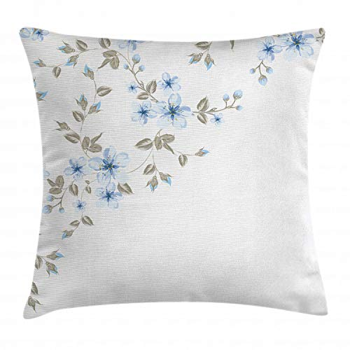 """Ambesonne Pale Blue Throw Pillow Cushion Cover, Japanese Sakura Cherry Tree Branches Fresh Serene Spring Nature, Decorative Square Accent Pillow Case, 20"""" X 20"""", Blue Grey"""