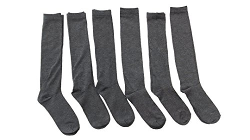 6 Pairs of Girls Knee High Socks, Cotton, Flat Knit, School Socks (8 - 9.5, Gray)