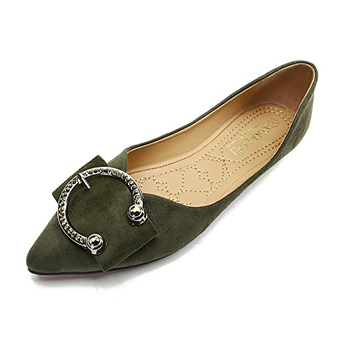 Meeshine Womens Classic Pointy Toe Ballet Flats Slip On Suede Flat Shoes Army Green US 9
