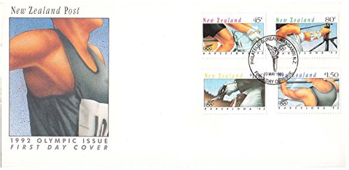 Olympic Games 1992 (New Zealand Scott 1100-1103 45c Cycling, 80c Archery, $1 Equestrian and $1.50 Board Sailing 1992 Olympic Games 1992 Philatelic Bureau Wanganui NZ First Day of Issue illustrated postmark. Cacheted. Un)