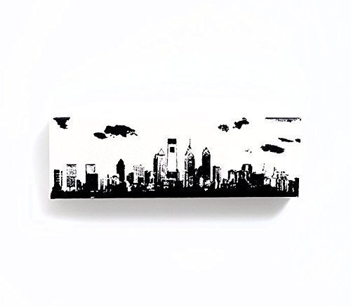 (Philadelphia Skyline Canvas Wall Art (White with Black, 12 x 4 inches))