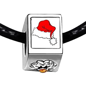 Chicforest Silver Plated Christmas hat Photo Topaz Crystal November Birthstone Flower Charm Beads Fit Pandora Chamilia Biagi Charm Bracelet