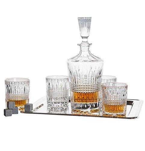 Crystal Barware Sets - Fitz And Floyd Danbury Crystal Whiskey Barware Set - 1 Decanter, 4 Dof Glasses, 12 Granite Whiskey Stone Cubes And 1 Rectangular Nickel Plated Tray