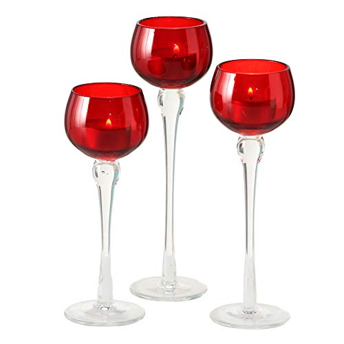 WHW Whole House Worlds Baby Red Long Stem Candle Holders, Set of 3, Clear Riser, Hand Lacquered Glass, 8 3/4, 7 3/4, and 7 Inches Tall, for Votives and Tea Lights (Holders Red Candle)